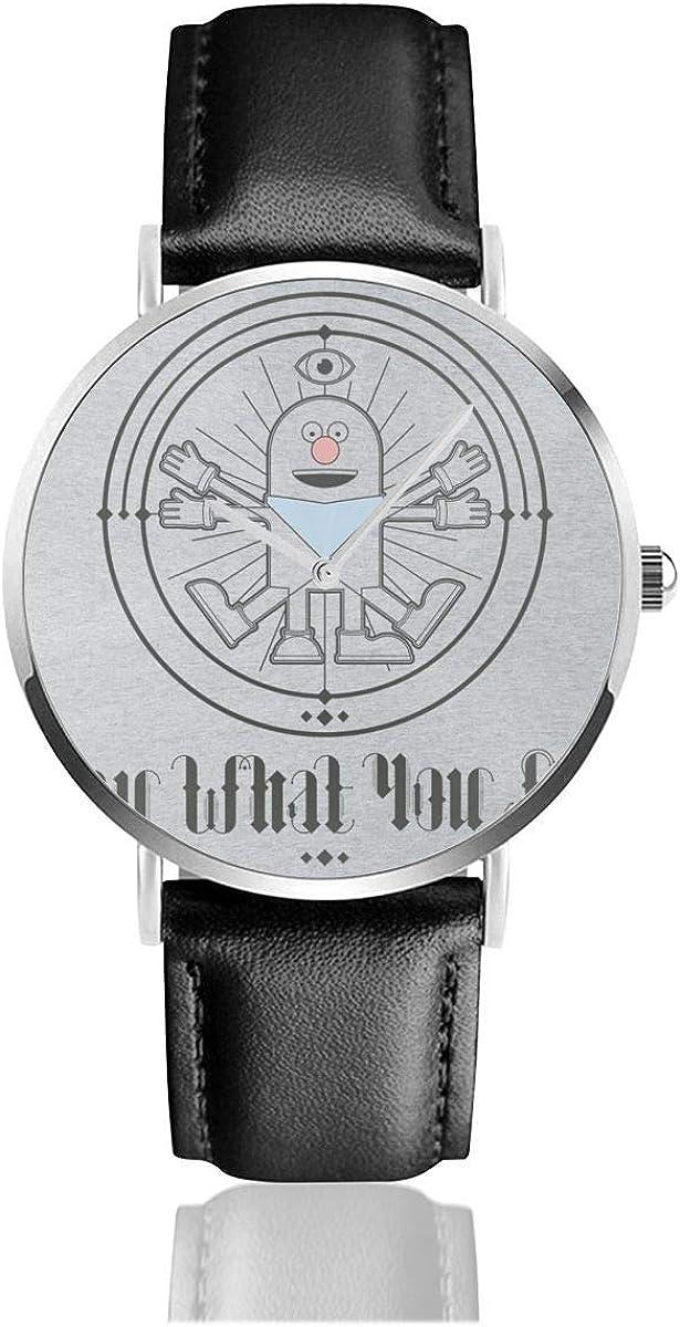 Unisex Business Casual Catchphrase Da Vinci Mr Chips Di lo Que Ves Relojes Reloj de Cuero de Cuarzo