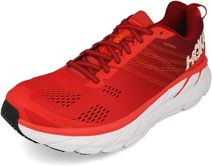 Hoka Clifton 6, Zapatillas de Running por Hombre, Rojo (PoppyRed/RioRed PRRR), 43 1/3 EU: Amazon.es: Zapatos y complementos