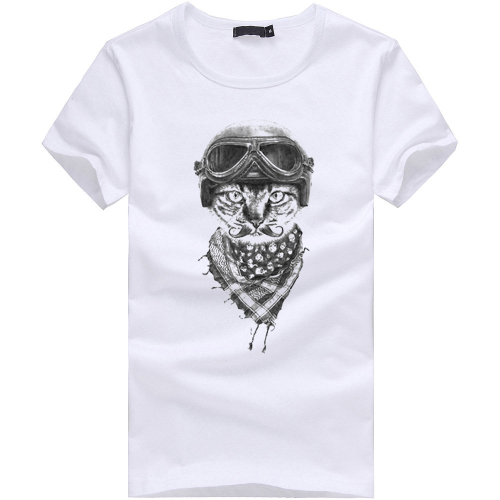 Donci 2019 Summer Popular Style Slim Fit Comfort Tops Cat Pattern Sports Casual Crew Neck Tees White T Shirt Men