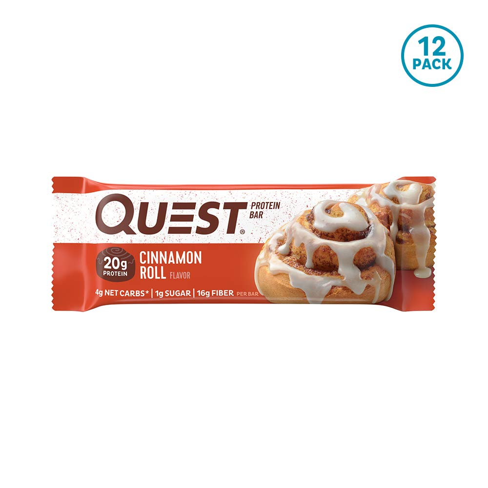 Quest Nutrition Cinnamon Roll Protein Bar, High Protein, Low Carb, Gluten Free, Keto Friendly, 12 Count