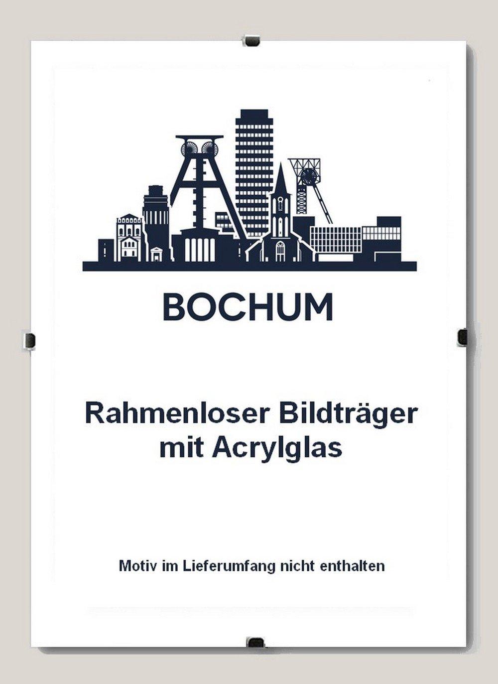 Bochum Rahmenloser Bildhalter 90 x 120 cm Cliprahmen 120 x 90 cm hier  1 Bildhalter mit Acrylglas Antireflex 2 mm