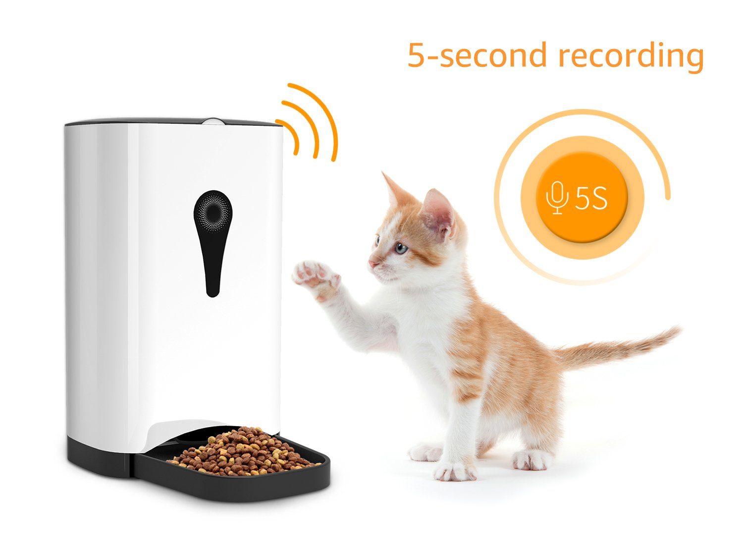 Smart Automatic Cat Feeder - SUKI&SAMI Pet Food Dispenser, with Timer Programmable, Voice Recording, WI-FI Enabled APP control Up to 8 Meals a Day by SUKI&SAMI (Image #5)