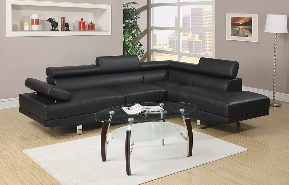 Amazing Amazon.com: Poundex Bobkona Atlantic Faux Leather 2 Piece Sectional Sofa  With Functional Armrest And Back Support, Black: Kitchen U0026 Dining Part 21