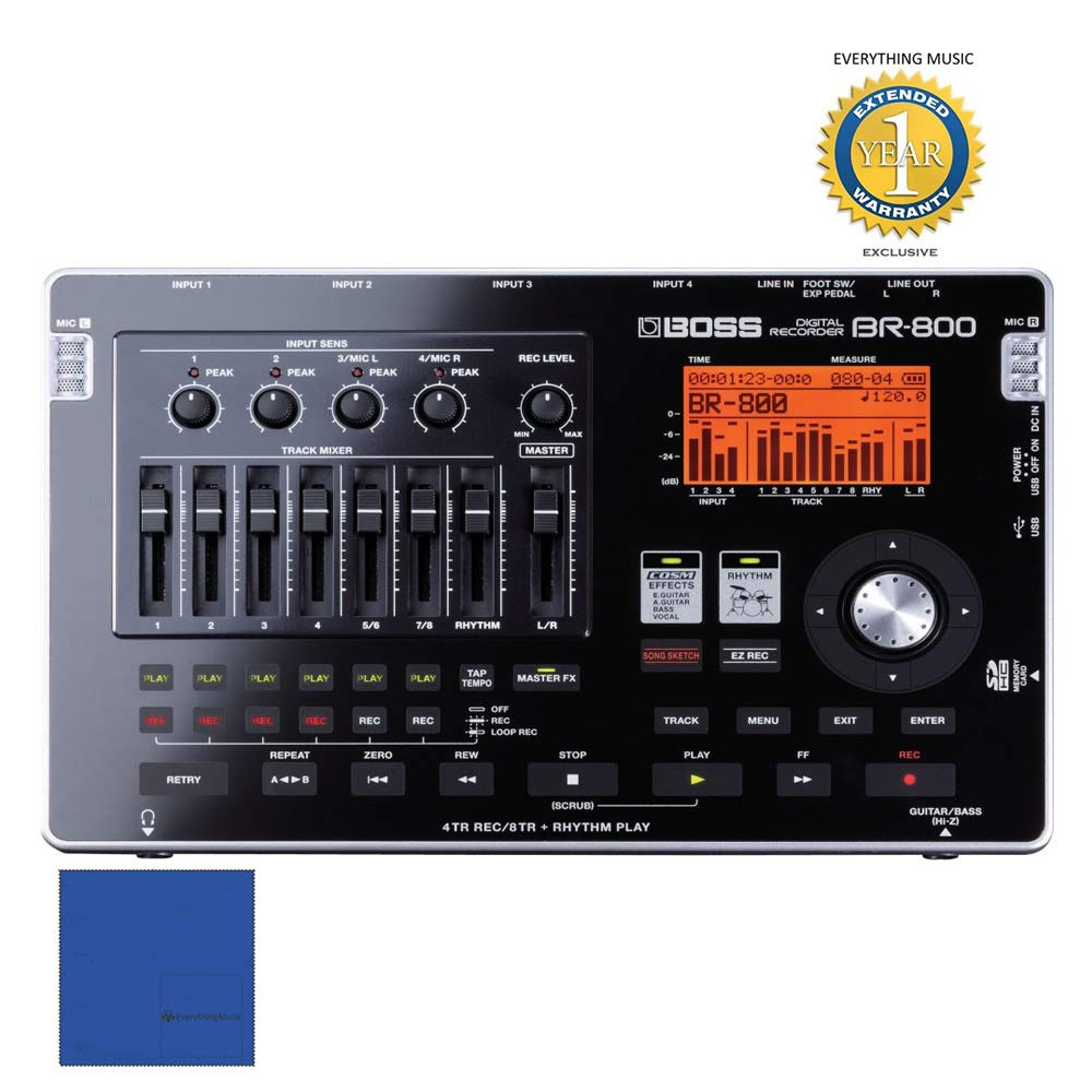 Boss BR-800 8-track Digital Recorder with 1 Year Free Extended WarrantyandMicrofiber by Boss (Image #1)