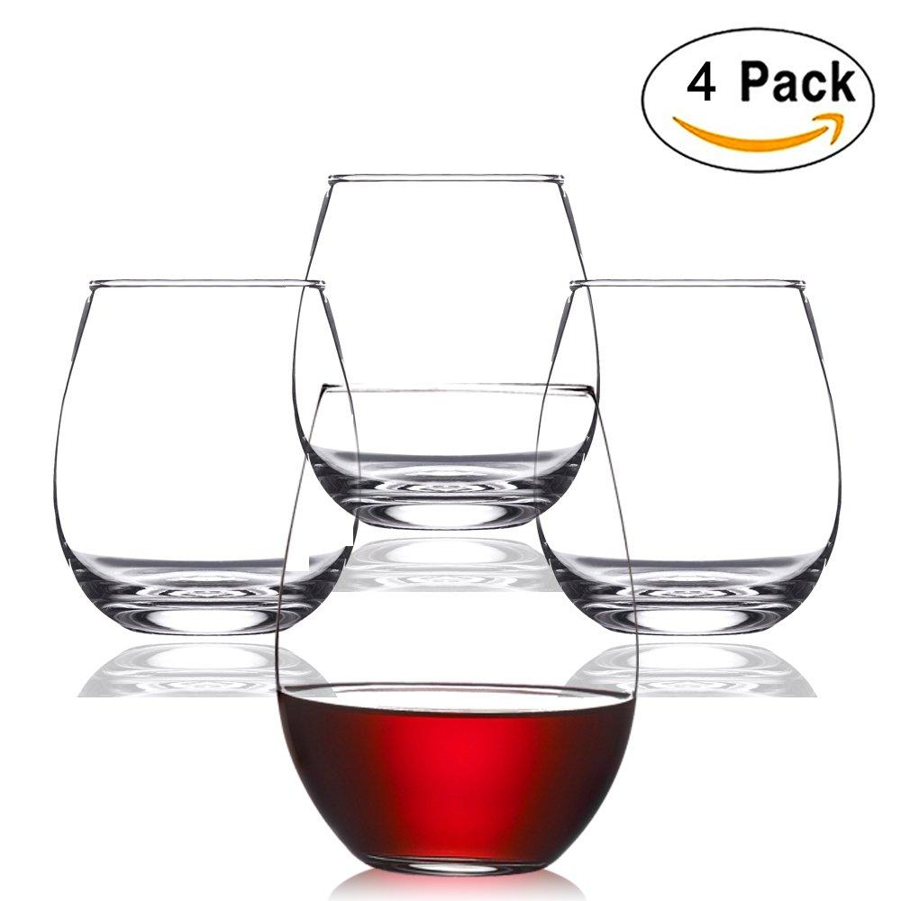 752b4e6a5fd Unbreakable Stemless Wine Glasses - DOLAIMI 4Pcs 16Oz Tritan Bpa-free  Plastic Juice Glass Break-resistant Water Tumbler Restaurant-Quality ...