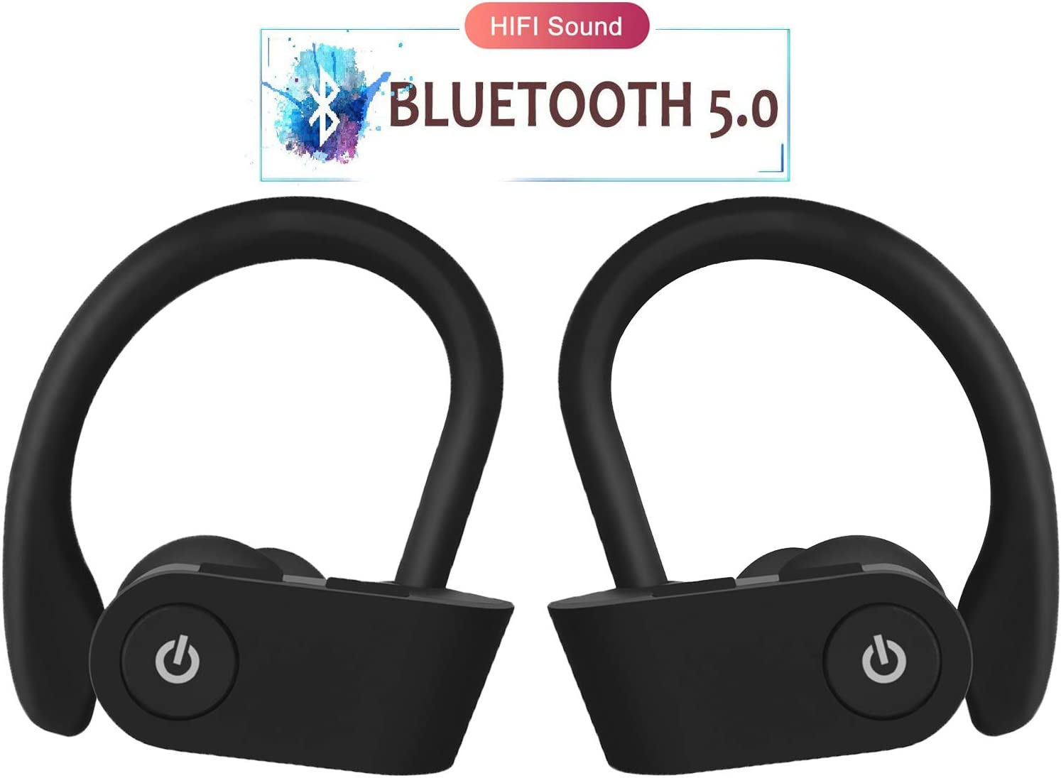 Wireless Earbuds, 5.0 Bluetooth Sports Headphones, Stereo Noise Reduction and Sweat-Proof Headphones in-Ear Built-in Microphone Headphones, Compatible with Apple Airpods Android iPhone, for Sports