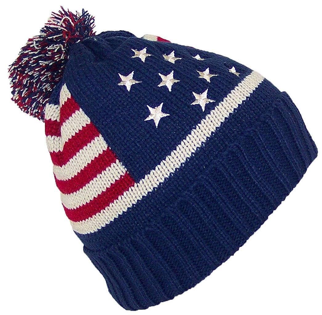 One Size Best Winter Hats Adult American//Americana Flag Cuffed Knit Beanie W//Pom Pom