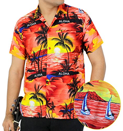 LA LEELA SHORT SLEEVEBEACH POCKET FRONT LUAU PARTY CARIBBEAN BEACHWEAR CAMP HAWAIIAN DRESS ALOHA SHIRT MENS 538 B_Red L Spring Summer (Hawaiian Party Dress)