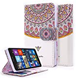 Lumia 435 Case, NageBee - Microsoft Lumia 435 Wallet Flip Case Pouch Cover Fold Stand case Premium Leather Wallet Flip Case (Wallet Royal Totem)
