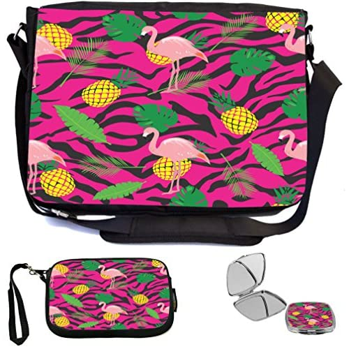 Rikki Knight Flamingo Tropical Pattern Pink Design COMBO Multifunction Messenger Laptop Bag - with padded insert for School or Work - includes Wristlet & Mirror