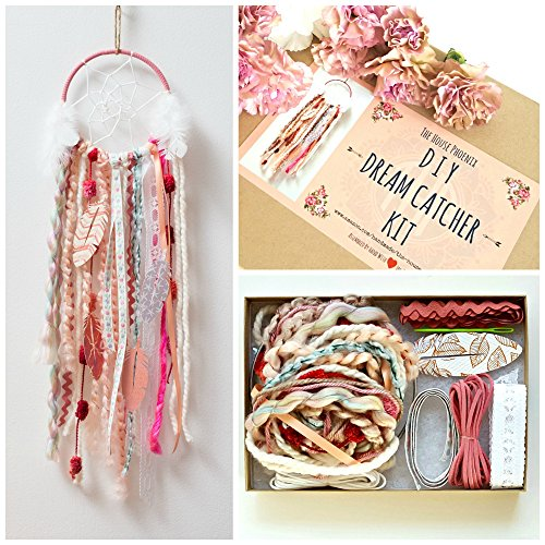 Girl Hippie Go (Pink DIY Dream Catcher Box Kit Craft Project Do It Yourself Bohemian Birthday Gift for Girls)