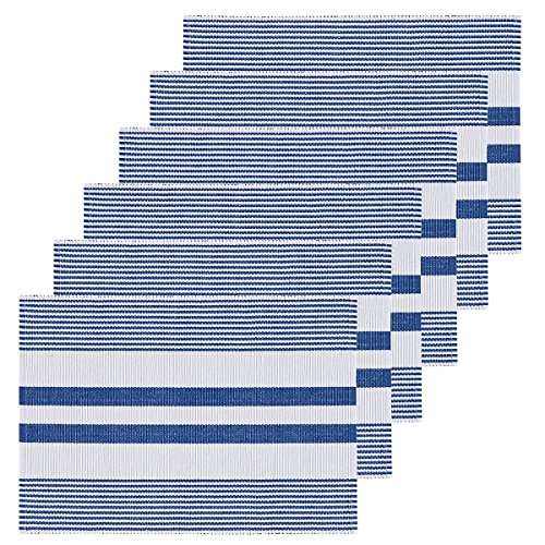 C&F Home Ribbed Blue & White Cotton Placemat Set of 6 Rectangular Placemat Set of 6 Blue