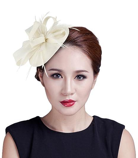 La Vogue Women Fascinator Feather Pillbox Hat with Clip Tea Party Derby Beige