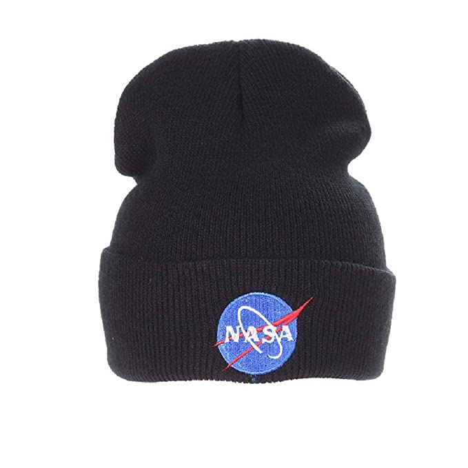 8ca62cdb29b Amazon.com  BAIMORE NASA Fine Finished Embroidered Hip Hop Knitting ...