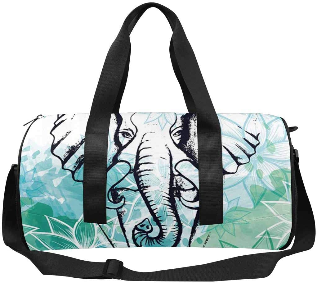 INTERESTPRINT Watercolor Elephant Florals Lightweight Carry-on Travel Duffel Bag