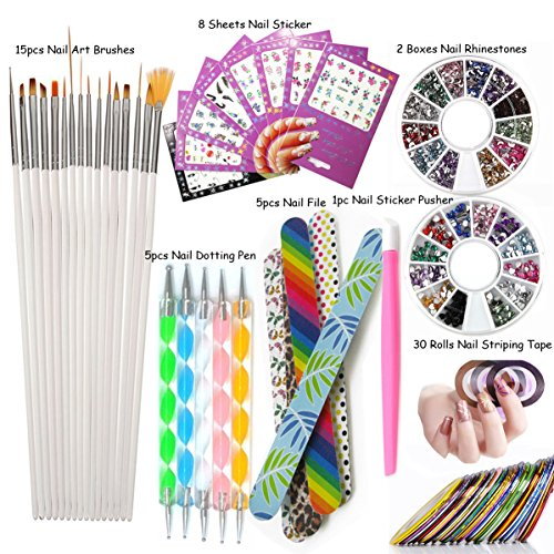 Nail Art Tools Manicure Kit 15PCS Nail Painting Brush 5PCS Nail Dotting Pen 2 Boxes Nails Rhinestones Decoration 8PCS Sticker Decal 30PCS Striping Tape 5PC Nail Files 1PC Stick Pusher Pedicure Set