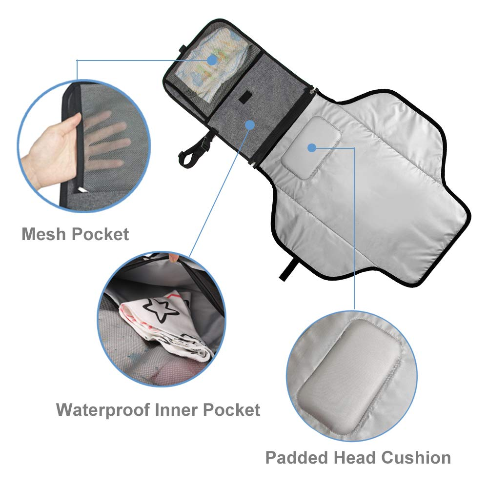 Lekebaby Portable Nappy Changing Mat Built-in Head Cushion Waterproof Travel Diaper Changing Pad Arrow Print