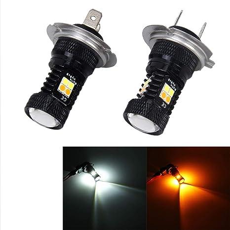 Iluminación Luz blanca + luz amarilla, 2 PCS H7 DC 12V 5W 350LM con 16