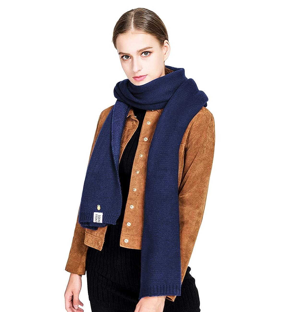 Alleza Bufanda de Punto Fular de Lana para Mujer de Invierno Caliente Largo Estilo de Doble Caras 220 * 50cm