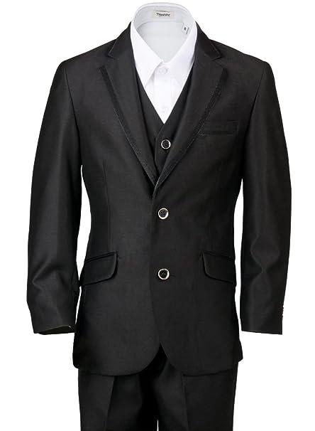 Amazon.com: BJK Collection Boys\' Black Suit with Satin Trim 3 Piece ...