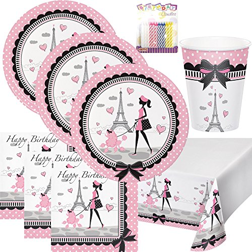 Party in Paris Theme Birthday Supplies Pack Serves 16: Dinner Plates, Luncheon Napkins, Table Cover, Cups and Birthday Candles