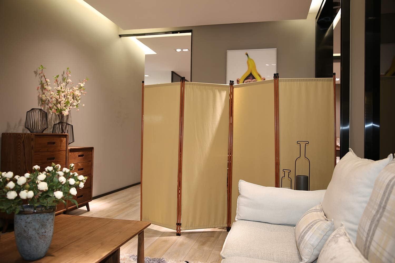 Angel Living Paravent 4tlg Sichtschutz,Faltbildschirm Raumteiler Sichtschutz aus Stahl und Polyester Paravant Beige