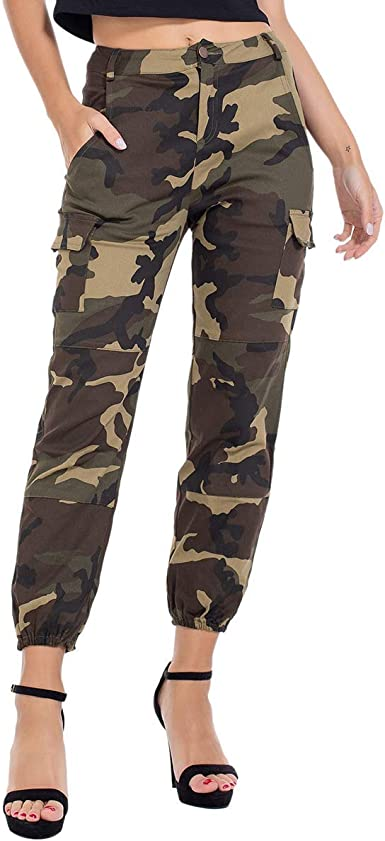 Womens Camouflage Skinny Fit Jeans Ladies Army Green Trousers SIZE 8