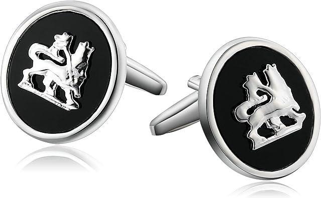Beydodo Gemelos Acero Inoxidable Gemelos Originales Camisa Hombre Gemelos Camisa Lobo Patrón Oval Gemelos Camisa Plata Negro: Amazon.es: Joyería