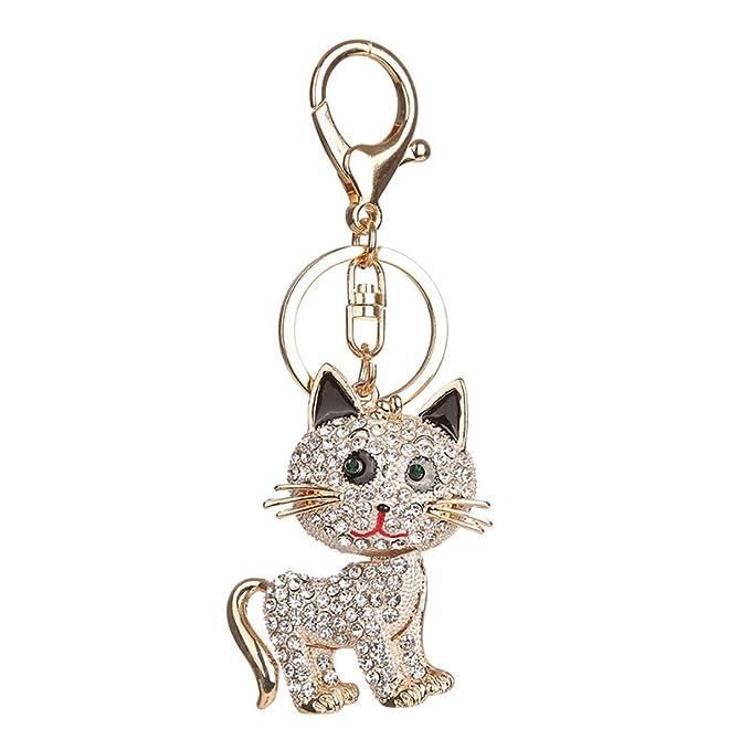 Fulision Diseño creativo del gato llavero rhinestone ...