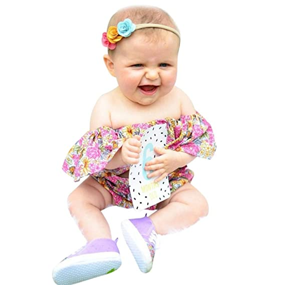 e745cbb5a TOOPOOT Baby Girl's Kid Mother's Day Romper Jumpsuit - Infant Girls Bowknot  Floral Printing Off Shoulder Tops Shorts Headband Outfits Set: Amazon.in:  ...