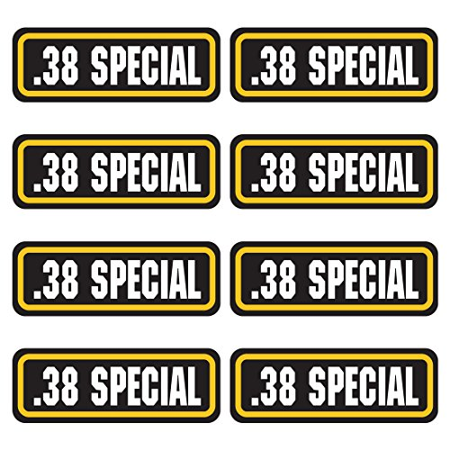 38 SPECIAL ammo sticker 8 PACK - LAMINATED Can Box Vinyl Decal (Army Label)