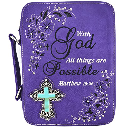 Western Style Bling Rhinestone Cross Country Women's Bible Cover Books Case Removable Strap Messenger Bag (Scriptures Purple)
