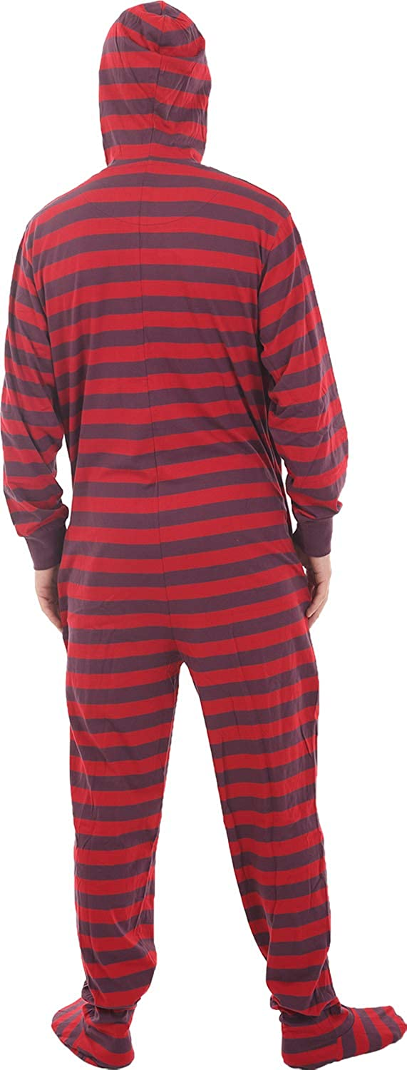 b1126dd4a6 Amazon.com  Funzee Footed Pajamas Adult Onesie Red Purple Stripes Jumpsuit  XS-XXL - Size on Height  Clothing