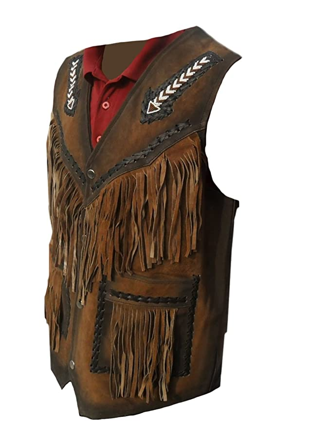 coolhides Mens Western Leather Vest with Fringes at Amazon Mens Clothing store: