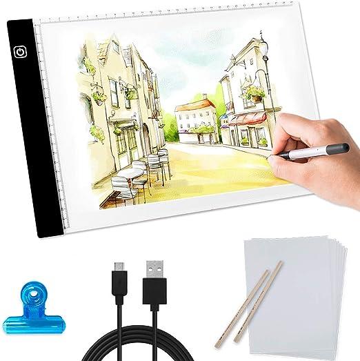 Mesa de Luz Dibujo,LED Tableta de Luz para Calcar,A4 LED Caja de ...
