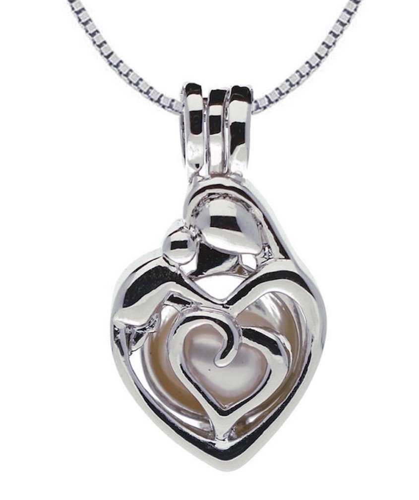 Pearlina Sterling Silver Mother Child Necklace Locket Pendant Cultured Pearl in Oyster Set, 18''