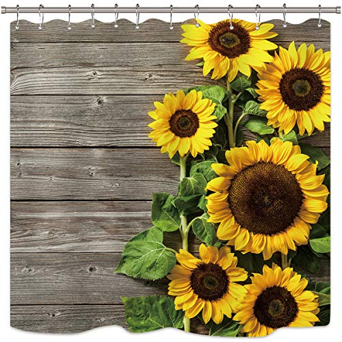 Primitive Home Decor Spring - Riyidecor Sunflower Shower Curtain Wood Rustic Floral Spring Blooming Flower Plank Primitive Country Woman Waterproof Fabric Bathroom Bathtub Home Decor Set 72x72 Inch 12 Shower Plastic Hooks