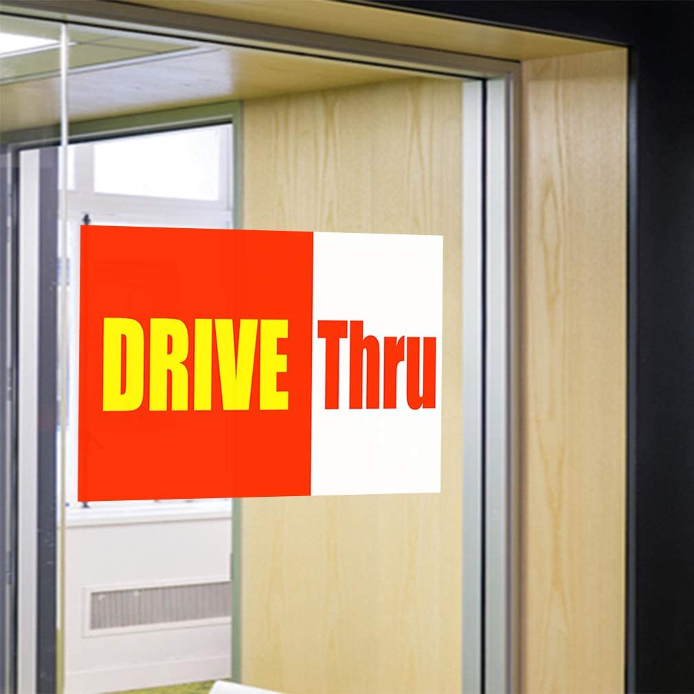 Set of 2 Decal Sticker Multiple Sizes Drive Thru Orange Yellow White Business Drive Thru Outdoor Store Sign Orange 58inx38in