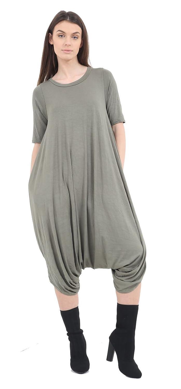 R KON Women Short Sleeve Baggy Lagenlook Romper Harem Ladies Jumpsuit Playsuit Dress
