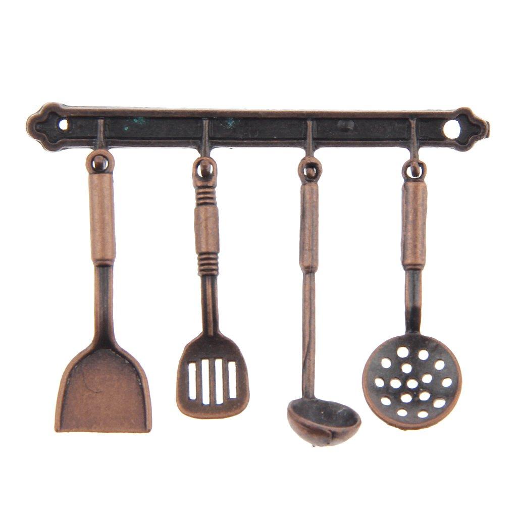 5pcs 1:12 Juguetes Casa de Muñecas Miniatura Herramienta de Cocina Muebles Deciración Metal - Bronce Generic STK0157002022