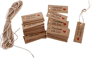 FITYLE 100 Stück Rustikal Papieranhänger Tags Labels Selbstgestalten Preisetiketten Preisschild Schilder Anhänger DIY Deko zum Hochzeit Party Etikett 5,2 x 2 cm - HANDMADE WITH LOVE