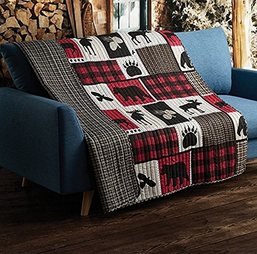 "Virah Bella Lodge Life 50""x60"" Quilted Throw, Black Bear Paw Moose Cabin Red Buffalo Check Plaid"