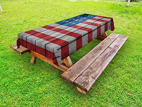 Cheap  Ambesonne USA Outdoor Tablecloth, Fourth of July Independence Day Retro Worn Wooden..