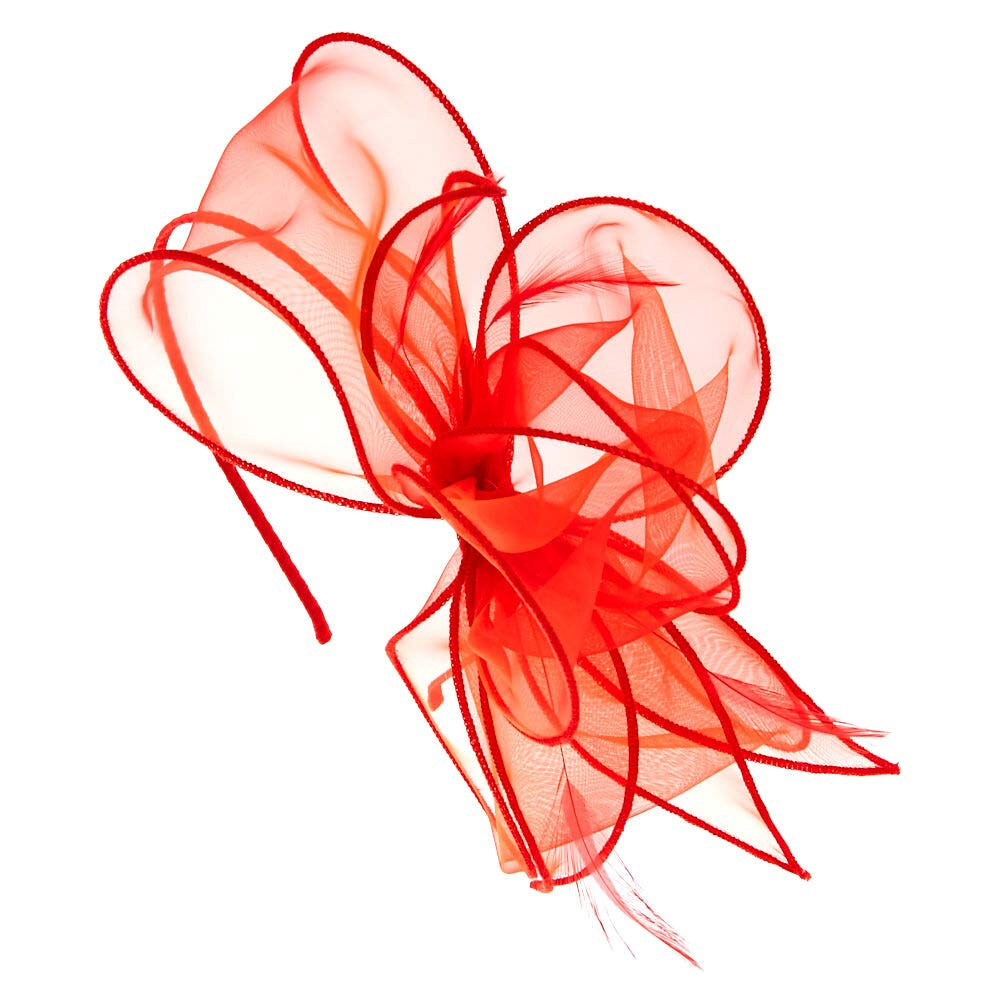 Claires Girls Red Chiffon Bow Hair Fascinator