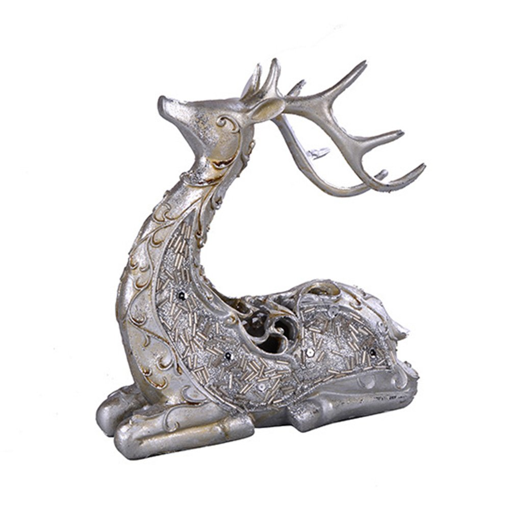 Sitting Silver Deer Christmas Figurine
