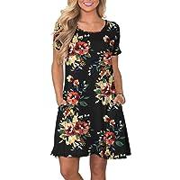 KORSIS Women s Summer Casual T Shirt Dresses Short Sleeve Swing Dress with  Pockets f179b46fa