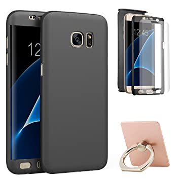 wholesale dealer 87af2 3b5c0 Galaxy S7 Edge Case,ATOOZ(TM) 360 Degree All-around Full Body Protective  Slim Fit Thin Case Cover for Samsung Galaxy S7 edge 5.5 inch(Black)