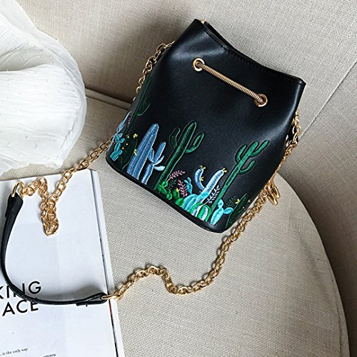Cactus Bucket Chain Black Shoulder Plant Printing Cross Bag Cactus Bag With Bag Women Drawstring Leather Body Embroidery CLARA PU Embroidery tAYqPwxa
