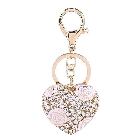 Llavero de cristal, amor romántico corazón flor color de ...