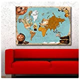 "Alonline Art - Pirates Old Vintage World Map Synthetic CANVAS Not framed +GIFT 34""x24"" - 86x61cm Painting Giclee Paintings Wall Art Posters Pictures Paints Prints Wall Decor"